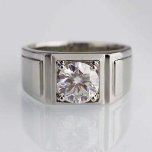 1.60 CT White Round Diamond Engagement Wedding Men's Ring 925 Sterling Silver