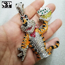 HIP HOP ICED OUT LAB DIAMOND WHITE GOLD PLATED LARGE TONY THE TIGER PENDANT