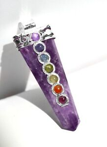 CHARGED Amethyst Crystal Point 7 Chakra Gemstone Silver Pendant & Necklace Reiki
