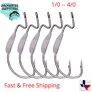 EWG Weighted Worm Hooks 1/0-4/0 Great for Carolina and Texas Rigging for Bass