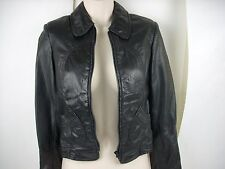 LEATHER RANCH Jacket Coat Women Size Small Black Soft Leather Fitted Supple Sexy