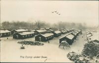 Postcard WW1 Army camp under covering of Snow Unidentified