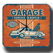 Garage Premium Auto Service Rétro Vintage Atelier Métal Tin Signe Horloge Murale