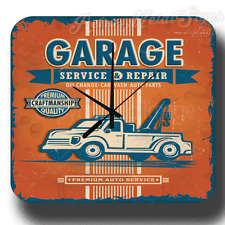 GARAGE PREMIUM AUTO SERVICE VINTAGE RETRO WORKSHOP METAL TIN SIGN WALL CLOCK