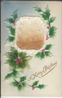 BA-059 A Merry Christmas Embossed Holly Farm Scene, 1907-1915 Postcard Vintage
