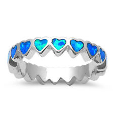 4mm Full Eternity Heart Band Ring Stackable Created Opal Sterling Choose Color