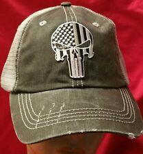 Punisher Distressed Trucker Cap Low Profile Cotton Mesh SWAT Military Veterans