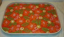 Serviertablett 70er Jahre, Tablett mit Blumen, Flowertablet Space Age Orange 70s