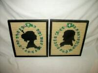FRENCH COUPLE SILHOUETTE NEEDLEPOINT BUSTS WREATHS ANTIQUE 1920's UNIQUE