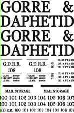 WHITE HO SCALE LARGE GORRE & DAPHETID BOX CAR DECAL W/ALTERNATE NUMBERS