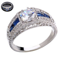 Wholesale Silver Vintage Wedding Sapphire White Topaz 6-10 Ring 925 Engagement