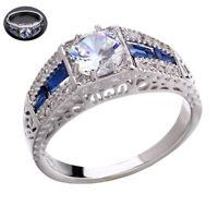 Wholesale Silver Vintage Wedding Sapphire White Topaz 6-10 Ring 925 Engagement