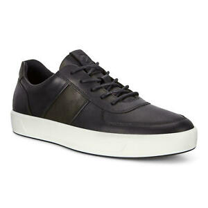 Ecco Men Casual Low Top Sneakers Soft 8 Size 11-11.5 EU 45 Black Leather