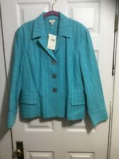 J. Jill Turquoise Cotton Blazer, Size 20, NWT, Textured, Button Front