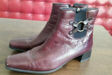 Ladies Rieker Leather Ankle Cowboy Western Chelsea Boots Size UK 6.5-7 Maroon