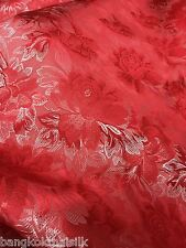 RED & SILVER ROSES FAUX SILK SHANTUNG FLORAL BROCADE FABRIC CRAFT DRESS