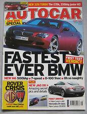 Autocar magazine 19/4/2005 featuring BMW M6, Lexus, Seat, Citroen, Peugeot