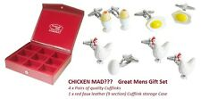 Omlet 4 pairs Chicken Rooster Boiled Fried Egg Cufflinks In a red deluxe case