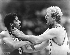 LARRY BIRD JULIUS ERVING DR J BOSTON CELTICS 76ERS 8X10 CHOKE FIGHT PHOTO