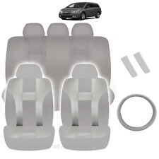 NEW ALL GRAY POLYESTER SEAT COVERS & STEERING COMBO 12PC SET FOR VANS 2320