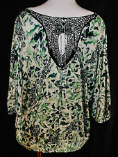 Boho Hippie CHIC New Nine West Green w/ Black Tie up Back Shirt Top Blouse L