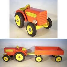 Uralt Holz Traktor Trecker mit Pritschenanhänger aus den 50er Jahren