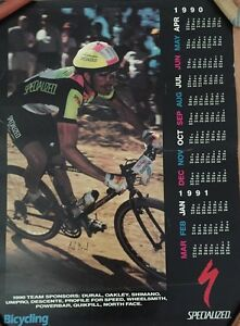 NED OVEREND (USA) signed Athlete 1990 CALENDAR POSTER Authentic Specialized Team