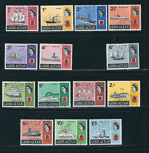 GIBRALTER 1967-69 QEII SHIPS definitives (Scott 186-99 short 191a) VF USED