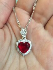 18K / 18ct White Gold Red Ruby Necklace  Heart Pendant