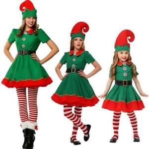 Kids Adult Elf Costume Christmas Fancy Party Xmas Santa Helper Cosplay Outfits