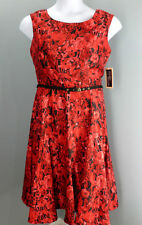 Julian Taylor Women's Dress Size 10 Sleeveless Red Floral With Belt NEW