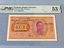 Katanga 10 Francs P-5a 1960  PMG 53 EPQ