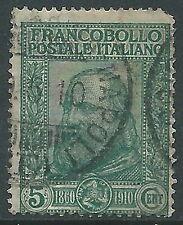 1910 REGNO USATO GARIBALDI 5+5 CENT VERDE DIFETTOSO IN ALTO A DESTRA - R5-6