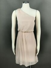 ADRIANNA PAPELL Blush Cocktail Dress Sz 12 Chiffon Beaded One Shoulder Tiered