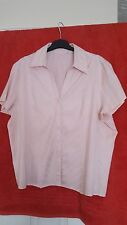 BHS Pretty Pink Stripey Blouse, Collared, Size 18, Good Condition