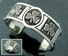 Knot Cuff Bracelet Unisex Pewter Shamrock and Trinity