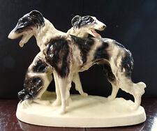 Sitzendorf Thüringen Windhunde Barsoi Antike Keramik Figur Sammlerstück aus 1930
