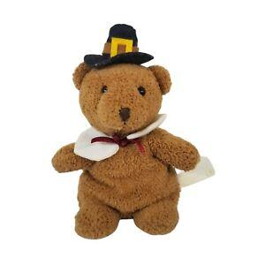 Russ Berrie Mr. Pilgrim Plush Thanksgiving Stuffed Animal Teddy Bear Toy Beans