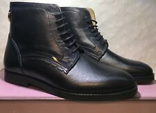 Size 5 Prem H By Hudson Black Lack Up Ankle Pixie Boots Prism Flat Real Leather