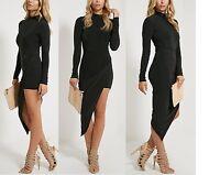 Women Ladies Saffy Black Long Sleeve Drape Dress Size 6,8,10,12,14