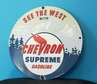 VINTAGE CHEVRON GASOLINE PORCELAIN GAS SERVICE STATION OIL RACK PUMP PLATE SIGN