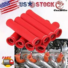 "8x Spark Plug Protect Boot 1200° Heat Shield Thermal Protection Insulator 6"" Red"