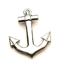 Chrome Anchor Lapel Gift / Pin Badge -20mm Free UK Delivery