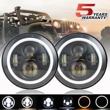 DOT 7 inch Round LED Headlight Pair Halo Angle Eyes For Jeep Wrangler JK 2007-18