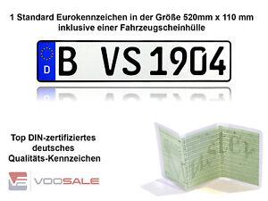 1 Autokennzeichen | Nummernschilder in Top Qualität  520x110 mm für alle Marken