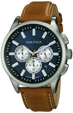 Nautica Men's NCT 17 Chrono 100m Stainless Steel Tan Leather Watch N16695G