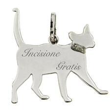 Ciondolo gatto che passeggia mm 25x23 in argento 925 rodiato incisione gratis