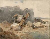 JOHN FREDERICK TAYLER Watercolour Painting GOATS IN LANDSCAPE - 19TH CENTURY