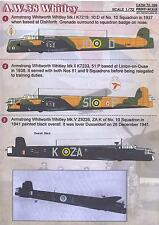 Print Scale Decals 1/72 ARMSTRONG WHITWORTH A.W. 38 WHITLEY British WWII Bomber