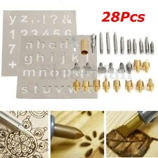28Pcs/set Wood Burning Soldering Pyrography Solder Tips w/2x Stencils Kit Tool